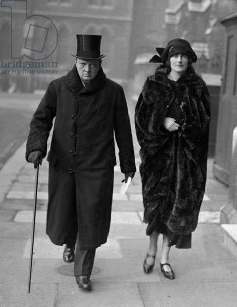 Winston Churchill is seen with his wife Clementine Churchill at Leicester where he was adopted as Liberal candidate for the West Division. November 1923 (b/w photo)