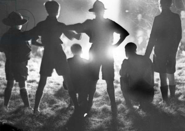 Boy Scouts pictured during Guy Fawkes, Teesside, Circa 1964 (b/w photo)