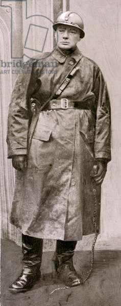Winston Churchill in Army Uniform, 1916 (b/w photo)