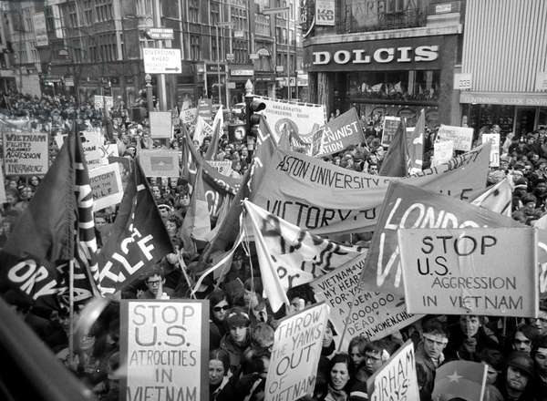Demonstrations against American involvement in the Vietnam War, London, March 1968 (b/w photo)