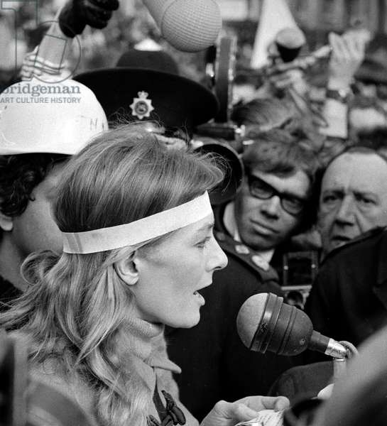 Television Actress Vanessa Redgrave speaks during a Demonstration in Trafalgar Square, London, 1968 (b/w photo)