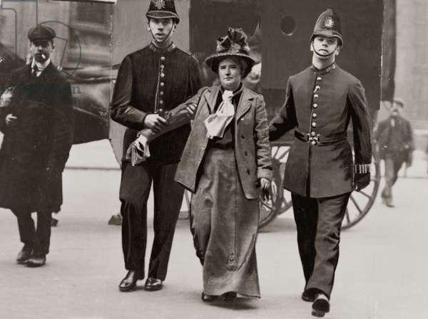 Suffragette Miss N. G. Bacon under Arrest outside Downing Street, London, May 1908 (b/w photo)