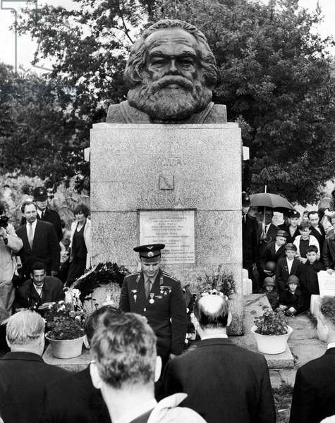 Yuri Gagarin the first man in space seen here in Highgate Cemetery where he laid a wreath on the tomb of Karl Marx. July 14th 1961 (b/w photo)