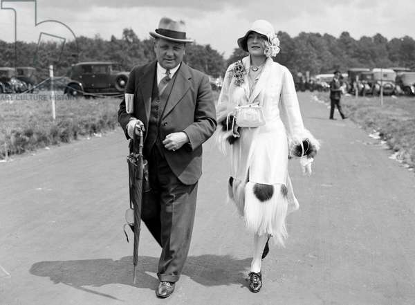 Journalist and future Arsenal football manager George Allison seen here with Jane Winton at Oakes Day at Epsom Races, April 1921