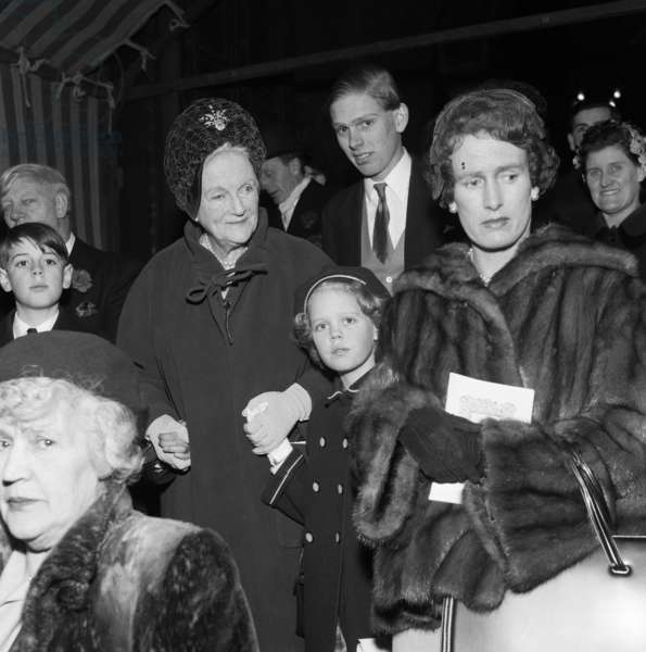 Lady Churchill and Emma Soames at the wedding of Richard Rhys and Lucy Rothenstein. 1959 (b/w photo)
