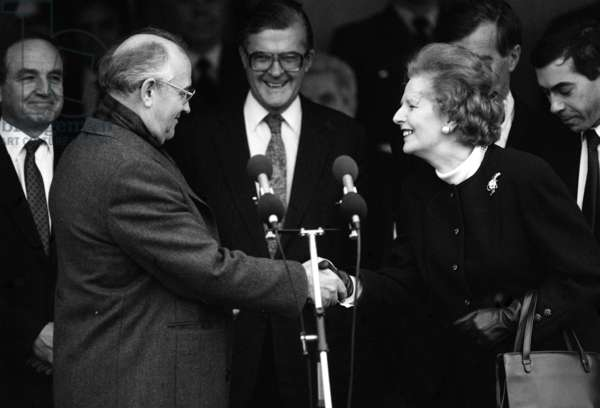 Margaret Thatcher meets Mikhail Gorbachev at RAF base Brize Norton, December 1987 (b/w photo)