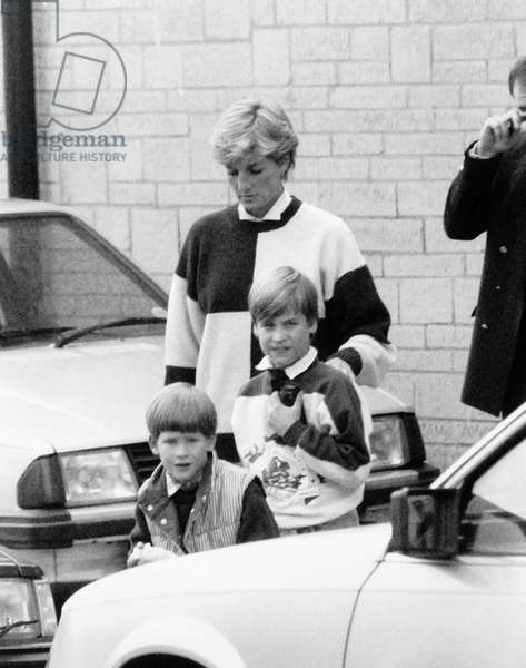 Princess Diana with Prince William and Prince Harry, October 1990 (b/w photo)