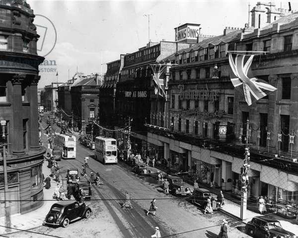 Queen Elizabeth II, Princess Elizabeth - Coronation - Market Street, Newcastle covered in coronation decorations, 1950, 1950 (b/w photo)