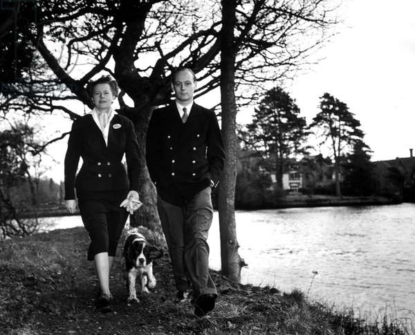 Lord Montagu of Beaulieu with his sister Elizabeth Douglas-Scott-Montagu, walking by the river on the Beaulieu estate, 1954