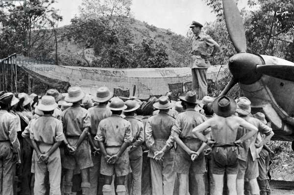 Vice Admiral Lord Louis Mountbatten speaking to the officers and men of the 1st Squadron of the Indian Air Force, at Imphal, June 1944 (b/w photo)