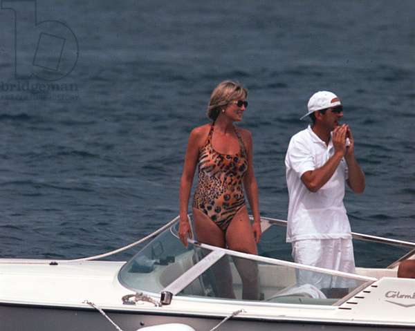 Princess Diana on holiday in St Tropez, France, 1997 (photo)