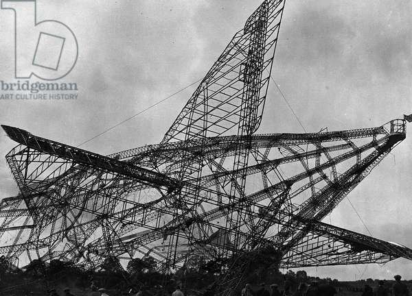 R101 Airship wreckage after it crashed into a hillside in Allone France near Paris  1930