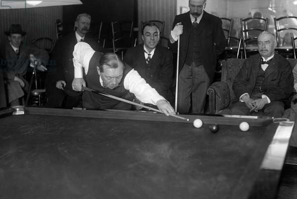 Sir Arthur Conan Doyle playing in the 2nd round of the London qualifying competition of the Amateur Billiards Championship at Messrs. Orme's, Soho Square, 8th December 1913 (b/w photo)