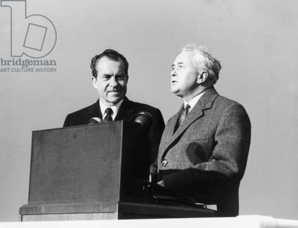President Richard Nixon with Prime Minister Harold Wilson at Heathrow Airport, 24th February 1969 (b/w photo)