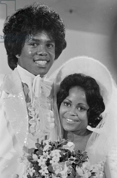 Jermaine Jackson, singer in the Jackson Five pop group, with his new bride Hazel Joy Gordy on their wedding day, at a Hollywood hotel, Los Angeles, California, Saturday 15th December 1973 (b/w photo)