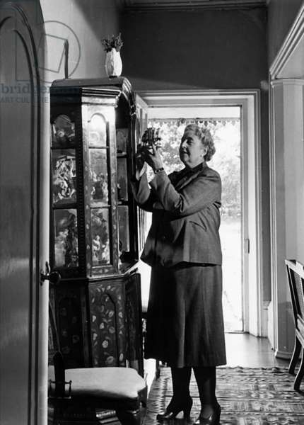 Agatha Christie, at home, 1950 (b/w photo)