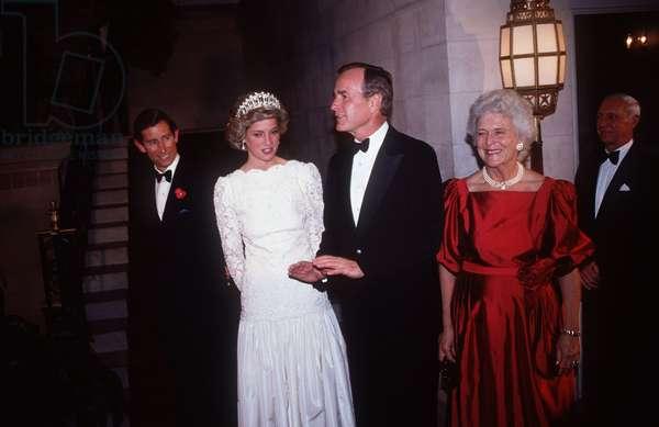 Prince Charles and Princess Diana with VP George Bush Sr and wife Barbara, November 1985 (photo)