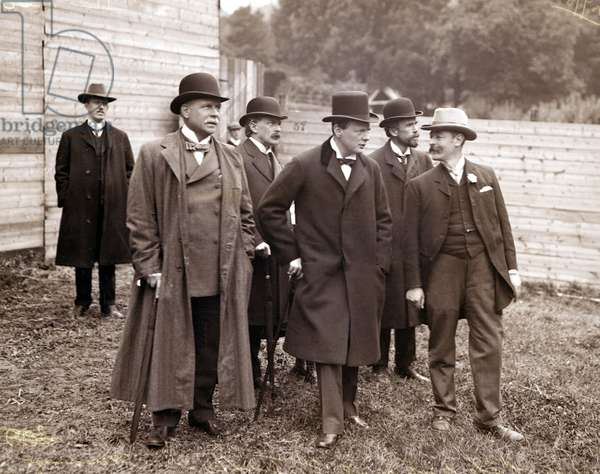 Winston Churchill and David Lloyd George with other politicians, September 1908 (b/w photo)