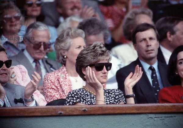 Wimbledon Men's Final, Princess Diana watching Michael Stich vs. Becker, 7th July 1991 (photo)
