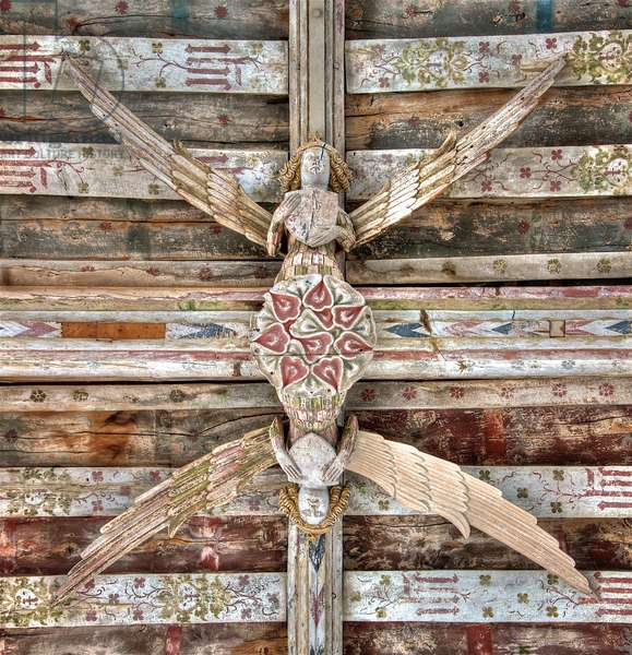 Paired roof angels on the central beam of the angel roof at Holy Trinity, Blythburgh, Suffolk, 15th century (photo)