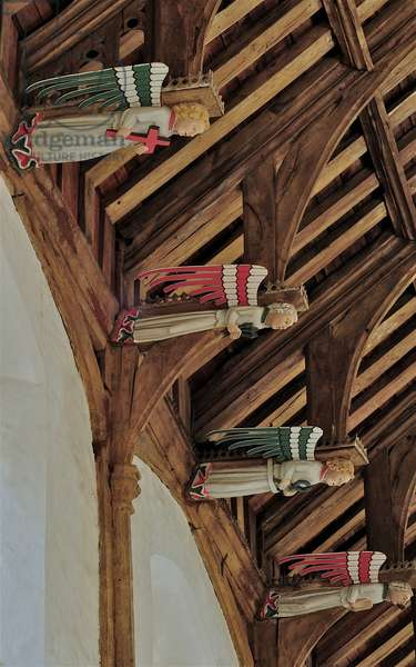 Four hammer beam roof angels at St. Mary's's, South Creake , Norfolk, showing wall post, hammer posts and arch braces, c.1415-20 (photo)
