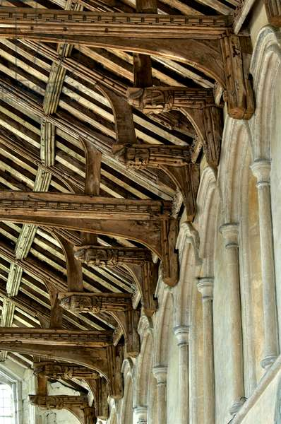 Alternating tie beams and hammer beam angels in the roof at St. Mary's, West Walton, Norfolk, 15th century (photo)