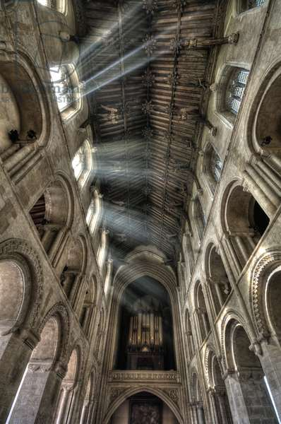 The angel roof at Wymondham Abbey, Norfolk, showing arcading, triforium and clerestory, c.1445 (photo)