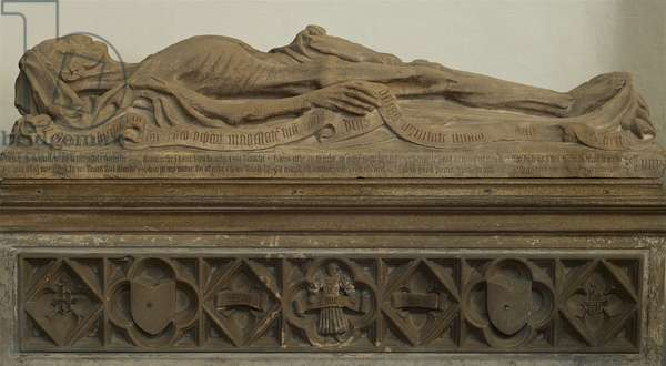 The cadaver tomb of John Baret, donor of the angel roof at St. Mary's, Bury St. Edmunds, Suffolk, Mid 15th century (photo)