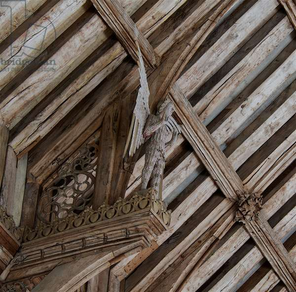 Angel standing on hammer beam at St. Agnes, Cawston, Norfolk, 15th century (photo)