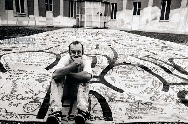 Keith Haring, Milan, Italy, 1986 (b/w photo)
