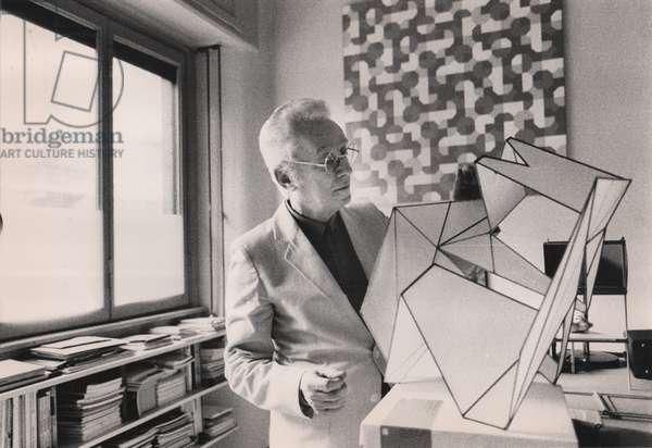 Bruno Munari in his studio, Milan, Italy, 1980 (b/w photo)