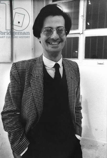 Giulio Paolini, at the Stein Gallery, Milan, Italy, 1984 (b/w photo)