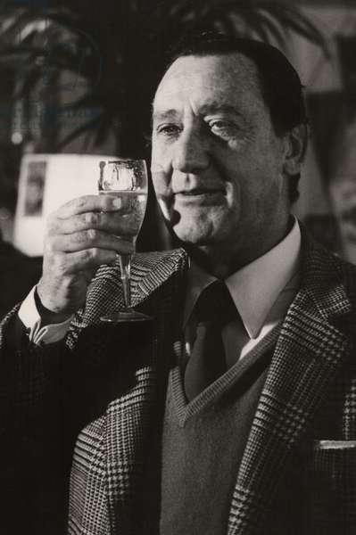 Alberto Sordi, Terrazza Martini, Milan, Italy, 1985 (b/w photo)