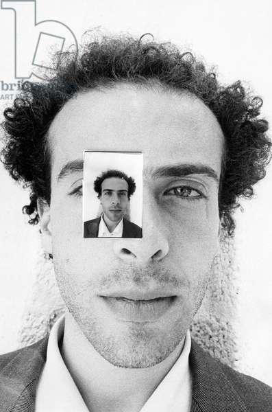 Francesco Clemente, at Pac (Padiglione d'Arte Contemporanea), Milan, Italy, 1978 (b/w photo)