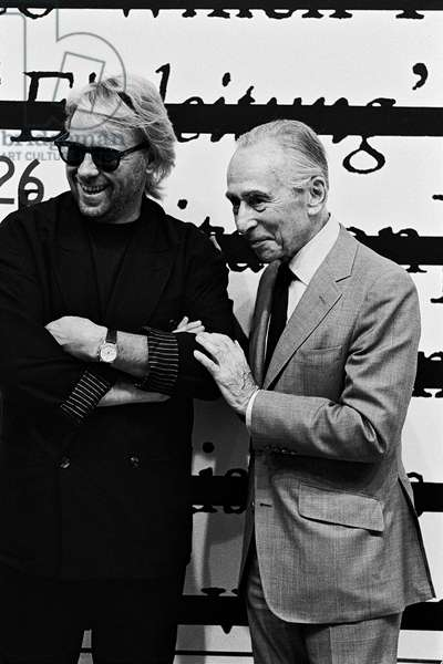 Leo Castelli and Joseph Kosuth, New York, USA, 1986 (b/w photo)
