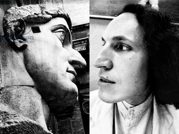 The Emperor and the Artist, portrait of Luigi Ontani and of the sculputre of Constantine, Rome, Italy, 1978 (b/w photo)
