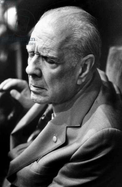 Jorge Luis Borges, Milan, Italy, 1985 (b/w photo)