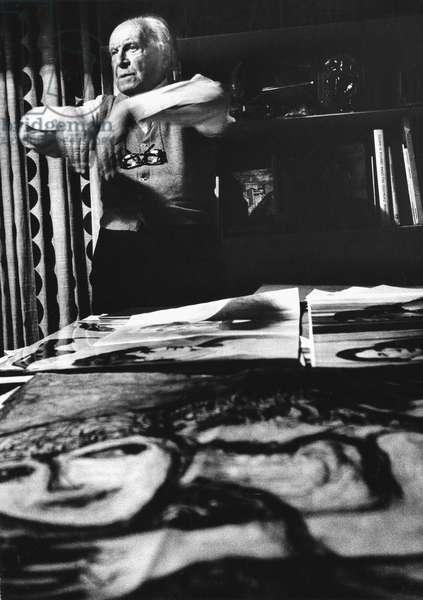 Giò Ponti, in his studio, Milan, Italy, 1975 (b/w photo)
