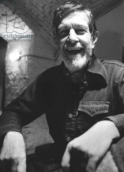 John Cage, Out Off Theatre, Milan, Italy, 1977 (b/w photo)