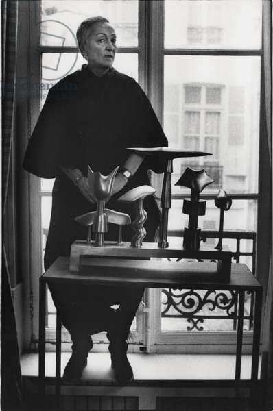 Meret Oppenheim, Paris, France, 1979 (b/w photo)
