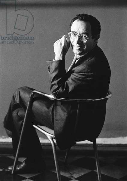 Tullio Pericoli in his studio, Milan, Italy, 1984 (b/w photo)