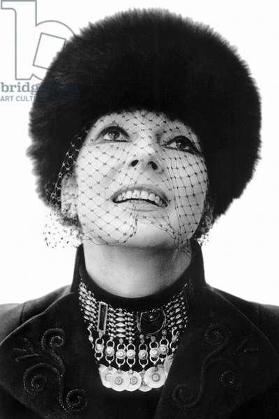 Valentina Cortese, Milan, Italy, 1975 (b/w photo)