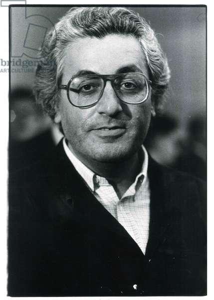 Germano Celant, Milan, Italy, 1985 (b/w photo)