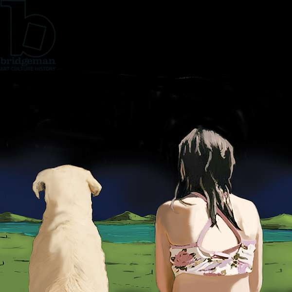 Girl and Yellow Lab, 2008 (acrylic on canvas)