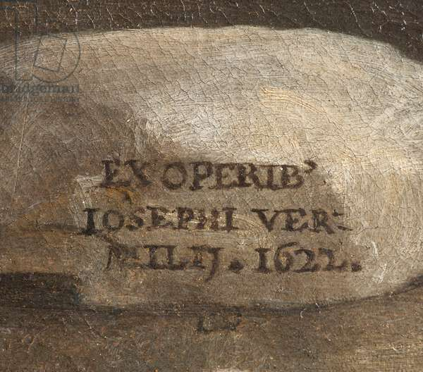 Signature of the Artist, Nativity, detail, 1622 (oil on canvas)
