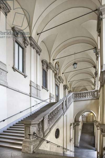 View of the portico and stairway, Palazzo Brera, Milan, Lombardy, Italy (photo)