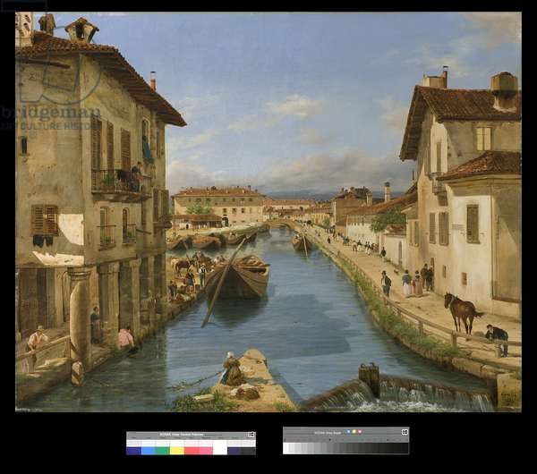 View of Naviglio Canal from the San Marco Bridge in Milan, 1834 (oil on canvas)