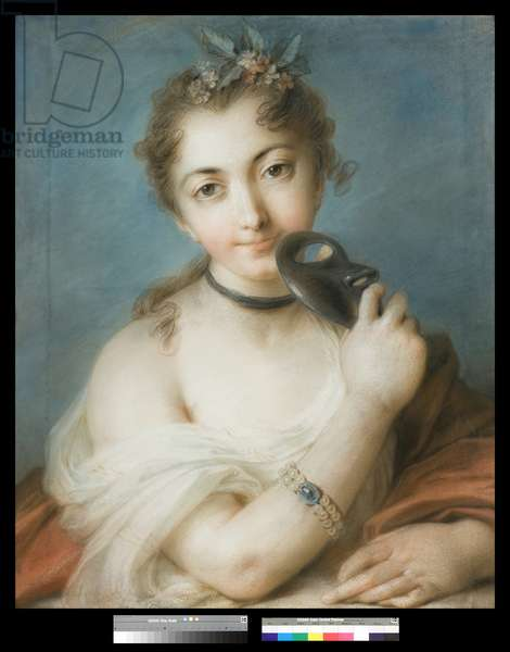 Portrait of a Woman with Mask, c.1720-30 (pastel on paper)