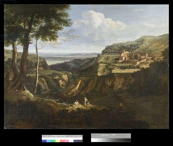 View of the Camaldoli Monastery near Frascati, 1670-75 (oil on canvas)
