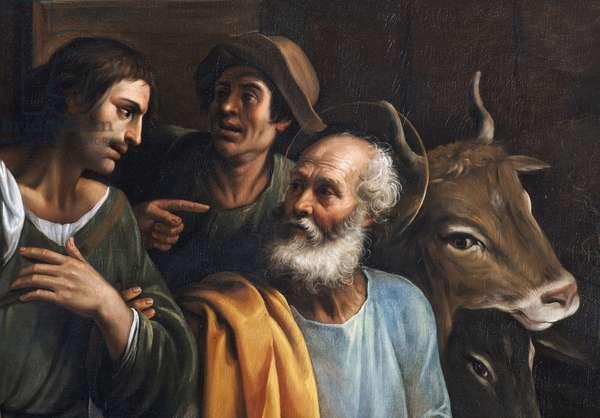 Nativite detail Painting by Giuseppe Vermiglio (ca. 1585-vers 1635) - Biblioteca Braidense di Brera Milan, Italy